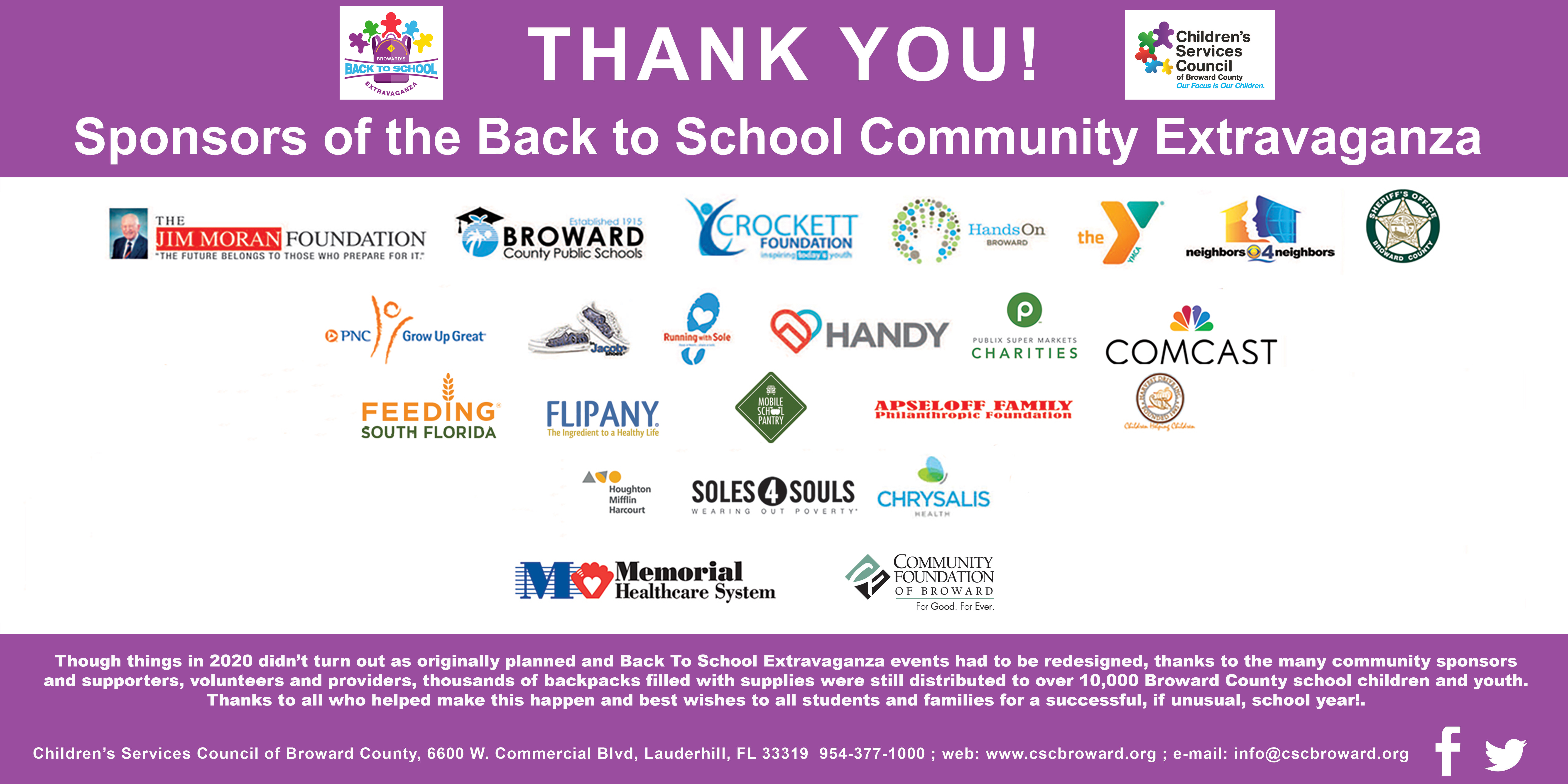 Back to School Extravaganza 2020 Thank You Banner