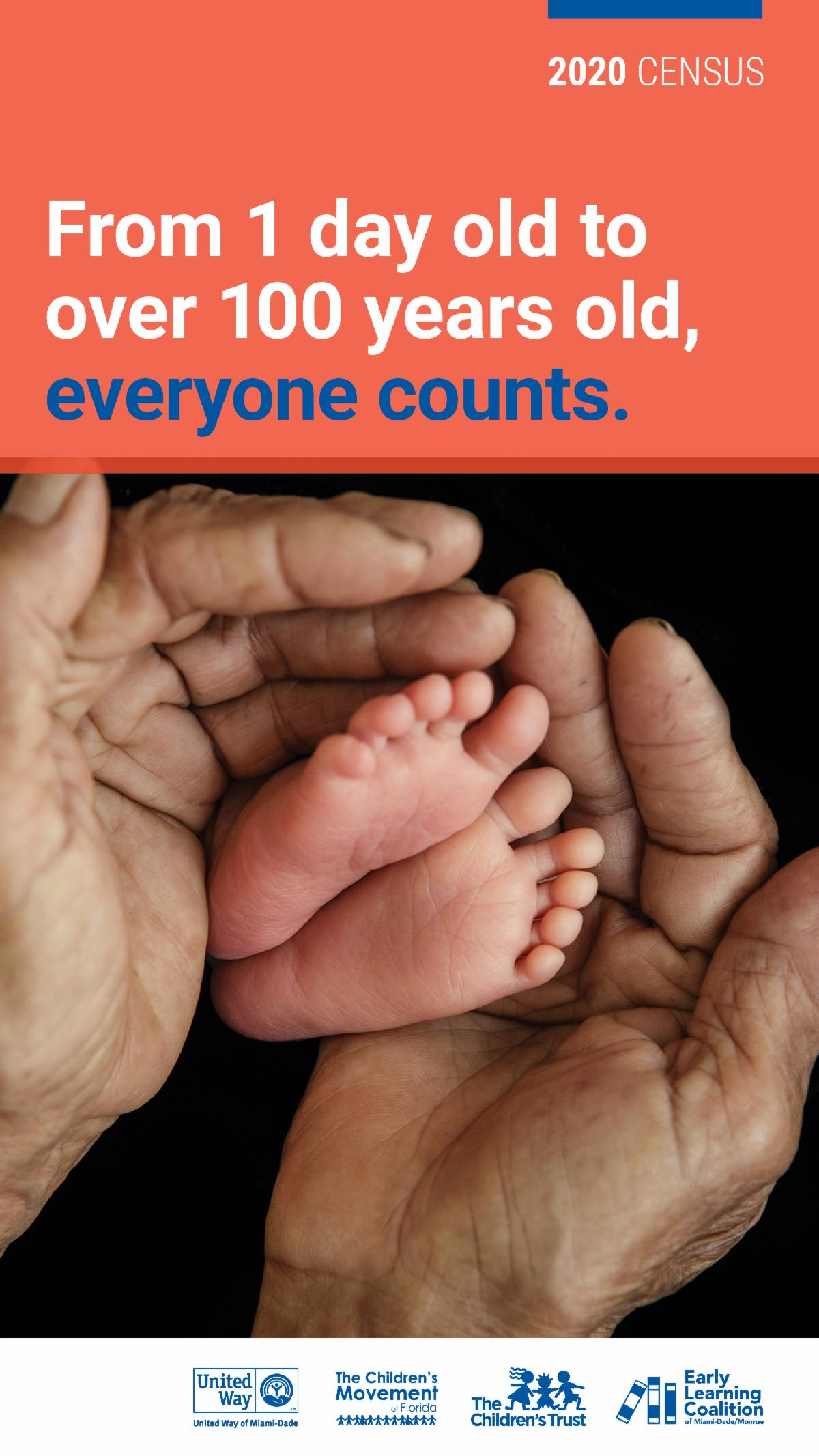 Everyone Counts - Census 2020 - Father's hands and baby's feet pictured